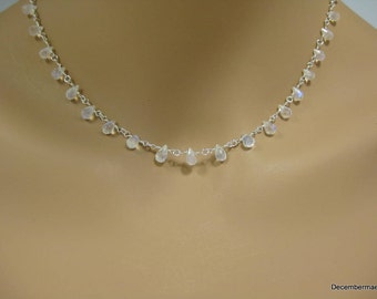 Rainbow Moonstone Briolette Necklace in Sterling Silver