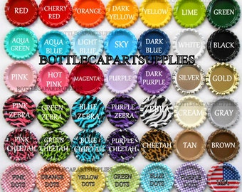 "You Choose 1 COLOR  50  1"" Colored Flat Double Sided   Bottle Caps    Flattened New Caps"