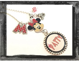 Personalized Charm Necklace -Minnie Mouse Bezel Pendant Necklace Jewelry #M67
