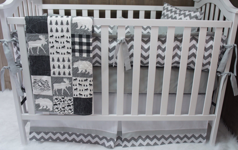 Baby Boy Nursery Bedding Crib Set Woodland Moose