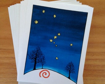 6 blank cards - The Hunter - Orion constellation