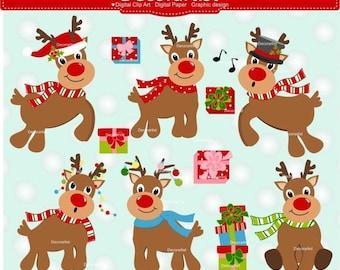 ON SALE Christmas Clipart, Rudolph Clipart, Reindeer Clipart, red nose reindeer, Digital clipart, christmas reindeer clipart, instant do