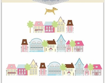 ON SALE Clipart. house, house-season change , INSTANT Download