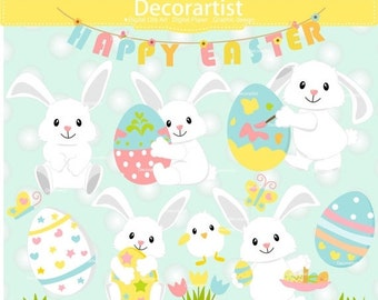 ON SALE Easter clipart, bunny clipart, easter egg clipart, white rabbit clipart, easter day, spring clipart