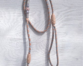 Braided Kangaroo Leather Dog Show Lead  - Dove Grey/Natural - 33""