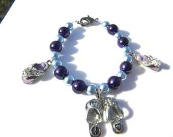 Purple Flip Flop charm bracelet (child size)