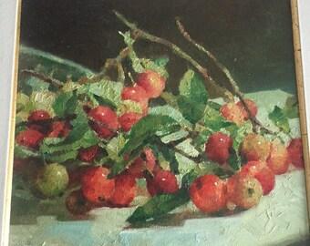 Jan Peng Wang oil painting of cherries