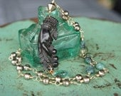 RESERVED for Jan - Antique Assemblage Necklace with Victoria-era Mourning Brooch, Rough Emeralds, Silver Pyrite and Green Quartz