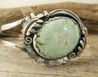 Sterling Silver Cuff Bracelet, Green Varascite Stone, Bohemian Western Jewelry, Western Cuff, Leaf Jewelry