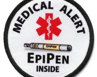 EpiPen Inside Medical Alert Food Allergy Warning Patch Choose Size and Rim Color