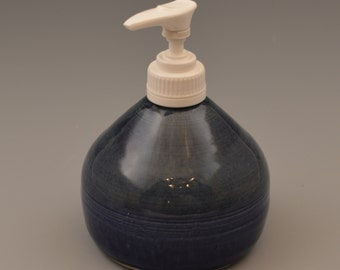 Navy Blue with Green Ceramic Soap or Lotion Dispenser 1
