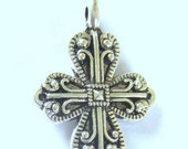 16 Silver pendant cross charms double sided antiqued metal 18mm x 26mm 835-SR5-4