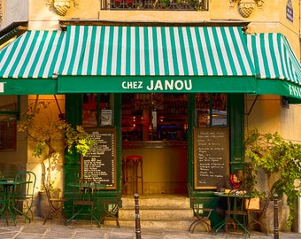 Paris Cafe Photo Chez Janou Restaurant Cafe Paris Decor Bistro Photograph France Print Wall Art Home Decor par174