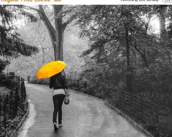 SALE - Ships Aug 27 - New York Photograph Central Park Photo Spring Rain nyc Manhattan Yellow Umbrella Black and White Feminine nyc60