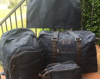 Special 4 Piece Travel Set for Men: Monogrammed Large Navy Brushed Canvas Duffle Bag Dopp Kit, Backpack, & Garment Bag; Great Grad Gift