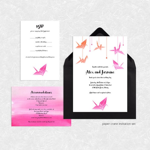 Origami Paper Crane Wedding Invitation Suite Printable File
