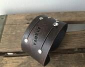 Leather zodiac cuff bracelet- Taurus