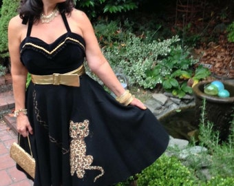 Vintage 50's RARE novelty felt skirt with leopard applique M/L MEOW!