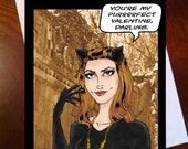 Purrrfect Valentine Woman of Cats- Greeting Card by LauriJon™ Studio City