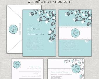 Turquoise Blooms Wedding Invitation Set Modern Monogram Belly Band