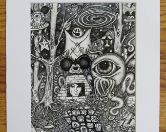 Doors of Perception Conspiracy Art All Seeing Octopus Morrison Aldous Pyramid Pen & Ink Print Matted 11x14