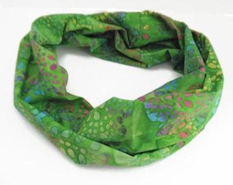 Infinity Circle Loop Scarf Green Batik Print
