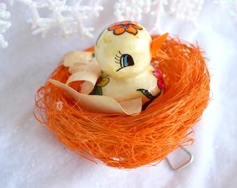 Vintage Christmas Ornament - De Sela Bird in Orange Nest - Mexico Paper Mache