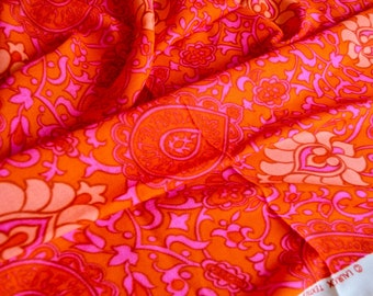 Vintage Fabric - Mod Pink and Orange Paisley Floral - 46 x 44 Hawaiian Crepe