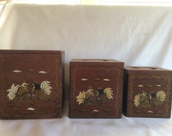 1950s Wood Rooster Canister Set