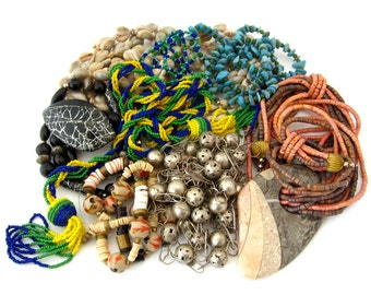 Boho Chic Salvaged Vintage Bead Necklace Lot | Shells, Glass, Wood, Metal | Repair Repurpose Craft Destash Jewelry