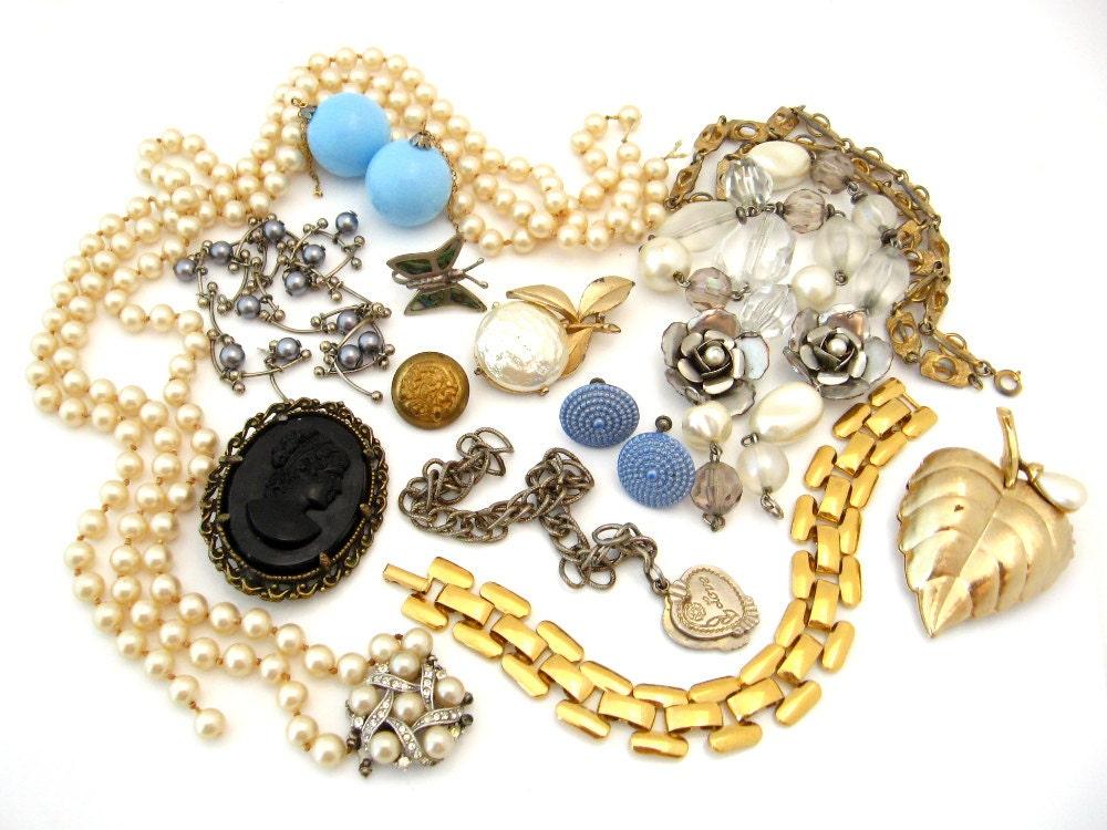 vintage costume jewelry repair lot rhinestone by