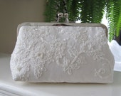 Silk And Alencon Beaded Ivory Lace Clutch,Bridal Accessories,Wedding Clutch,Bridal Clutch,Bags And Purses