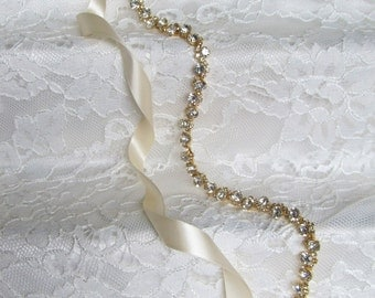 Gold Crystal Rhinestone Bridal Sash,Wedding sash,Bridal Accessories,Bridal Belt,Style # 9