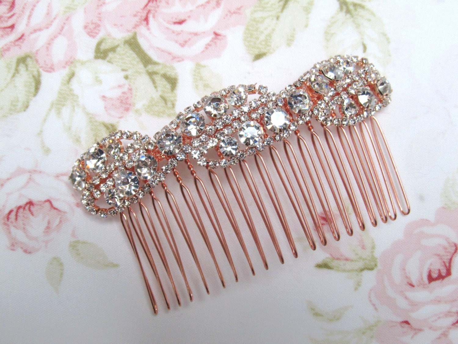 Rose Gold Bridal Hair Comb,Rhinestone Wedding Hair Comb,Bridal Hair Accessories,Wedding Accessories,Decorative Hair Comb,#C7