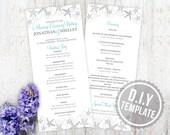 DIY Custom Wedding Program Card for Destination Beach Wedding -  Starfish and Sand Dollars Printable Program PDF