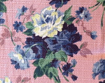 Vintage 1940s Barkcloth Remnant Roses and Cornflowers