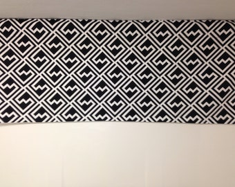 RTS, Lined valance, 42 x 16 inches, black and white shakes geometric cotton