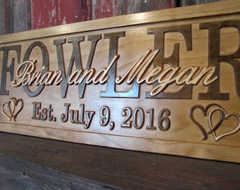 Personalized Family Name Signs CARVED Custom Wooden Sign Last name Wedding Gift  Established Anniversary custom personalized sign