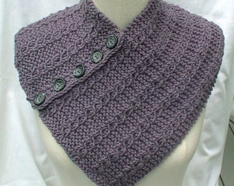 Neck Chest Warmer Scarf Gray Hand Knit Cables Eyelet Buttons Women Ladies Teens