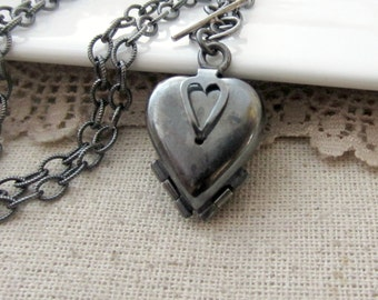 Four Picture Locket, Oxidized Locket, Sterling Silver Locket Necklace, 4 Photo Locket, Silver Heart Locket, Modern Locket, Chunky Chain