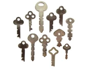 12 vintage keys, odd and old keys, antique keys, wedding keys, little keys, primitive key, rustic key, key to my heart, collection of keys 9