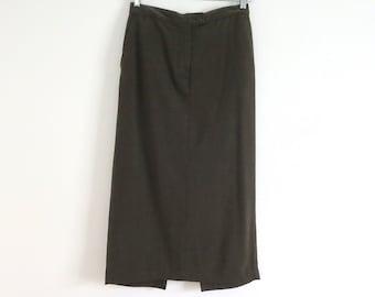 Vintage khaki skirt Vintage khaki pencil skirt Women size 8 Vintage dark olive skirt Vintage dark khaki jean skirt Long Jones N Y maxi skirt