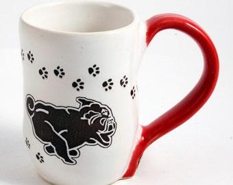 White and Red Stoneware Black Turbo Pug Mug