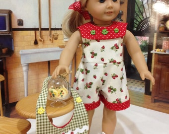 "SALE  AG romper and purse  ""The Strawberry Picker"" fits American Girl and similiar 18 inch dolls"