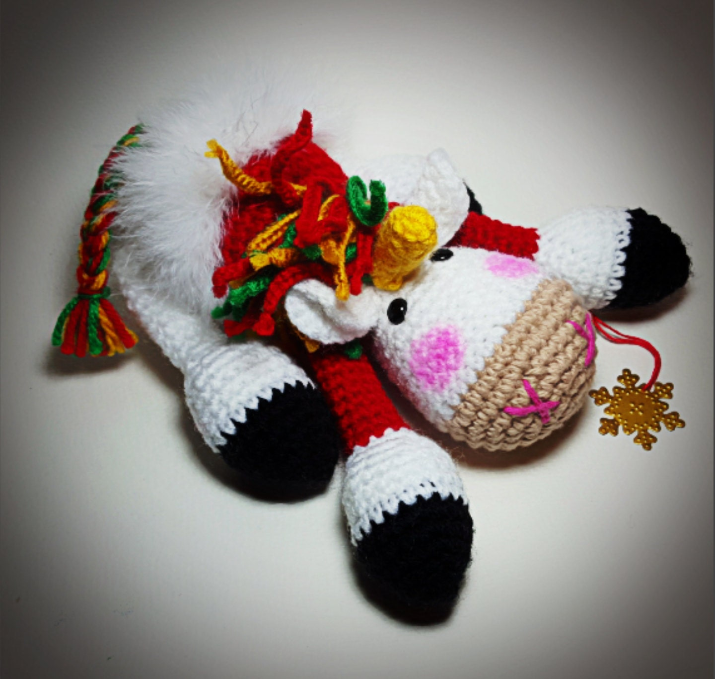 Unicorn Amigurumi Yarn Yard : Amigurumi Unicorn Christmas Plush Toy Fairy World Doll
