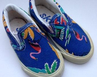 AWESOME Vintage 80s Kids SlipOns Vans-a-like Canvas Tropical Flamingo Cool Kid Shoes