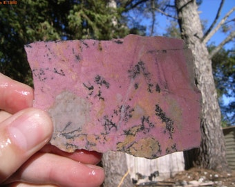 Gem Quality California Pink Black Yellow Rhodonite Slab