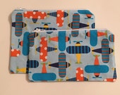 Zipper Bag Set / Essential Oil Bag / Make Up Bag - Airplane