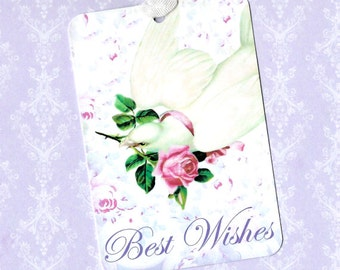 Gift Tags, Wedding Tags, Best Wishes, Dove Tags, Rose Tag, Birthday Tags