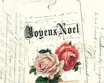 Christmas, Gift Tags, French Style, Joyeux Noel, Roses, Christmas Tags